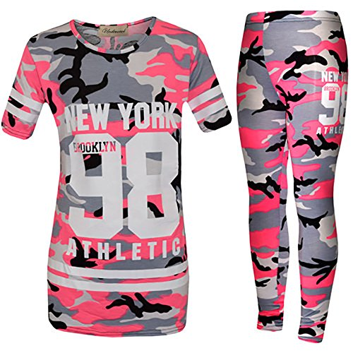 Kids Camouflage Tracksuit Girls Lounge Wear Newyork 98 Jogger SportsWear 7-13Yr (13 Years, Pink Camo 98)