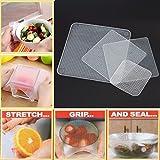 Zooarts 4pcs Silicone stratifiées Joint Coque stretch aliments frais film étirable Keep Ustensiles de Cuisine Transparent