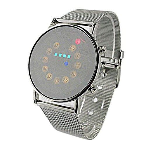 Yogogo Herren LED Quartz Analog Armband , 1 Cent Artikel Armbanduhr | Edelstahlband | Dekoration | Geschenk | Alugehäuse | Quarzwerk | Wasserdicht | Sportuhr | 22cm Bandlänge (Silber)