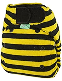 TotsBots Bamboozle Stretch Size 2 Bamboo Fleece Reusable Washable Nappy in Bumblebee Design