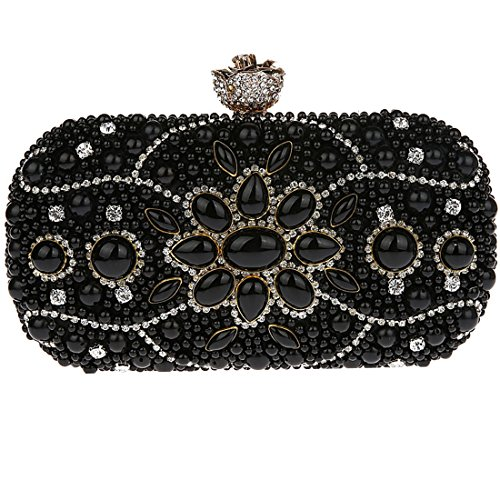 KAXIDY Damen Satin Handtasche Strass Wulstige Clutch Schultertasche Abendtasche Schwarz
