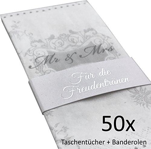 er (Mr & Mrs) + Banderolen (Silber geprägt) für Freudentränen auf der Hochzeit (50 Stück) ()