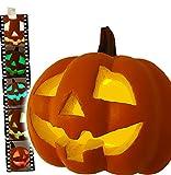 Wunderschöner riesiger Halloween Kürbis authentische Größe mit LED Beleuchtung PLUS Fledermaus zum aufhängen (Kürbis mit Farbwechselspiel inklusive Batterien) Gruseldeko und Show-Spektakel mt enorm langer Leuchtkraft für Wochen (Batterien inklusive und auchwechselbar)