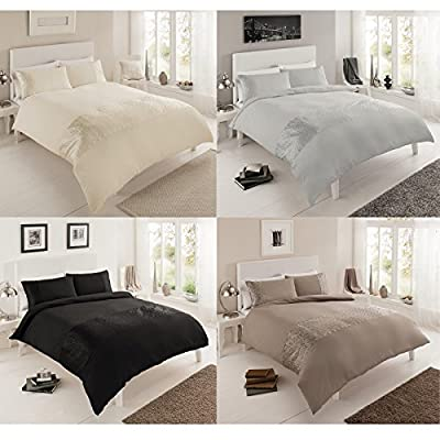 Just Contempo Modern Duvet Cover Set, Double, Black - inexpensive UK light store.