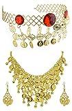 Schmuck zum Bauchtänzerin Kostüm - Gold - zur Auswahl - Tiara Haarreif Diadem Halskette Ohrringe Zubehör Zigeunerin Bollywood Inderin Verkleidung Karneval Theater Mottoparty Junggesellenabschied