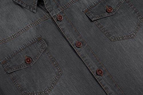 Aulei Herren Jeanshemd vintage slim fit aufwendiges Denim Shirt Langarm used look Grau
