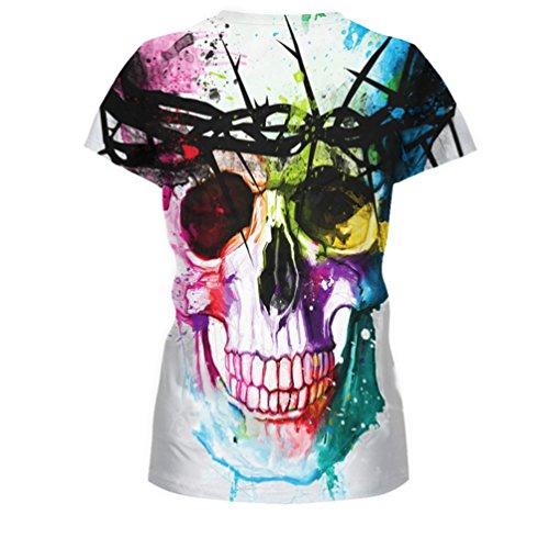 MILEEO Damen Basic Tshirt Skull Schädel Shirt mit Rundhals Klassisch  Rundhalsshirt Kurzarm Tops Stil 1