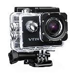 VTIN Full HD 1080P Sport Action Kamera Wasserdicht 170 Grad Weitwinkel mit 2x Batterie und Zubehör Kit, 5,08 cm (2 Zoll) schwarz