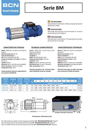 BCN bombas - Bomba de agua horizontal bm-100/4 (Monofásica)