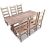 Festnight 7-tlg. Essgruppe inkl. 1 Esstisch und 6 Essstühle aus Teakholz Küchen Sitzgruppe Esszimmer Küchentisch Esszimmerstühle