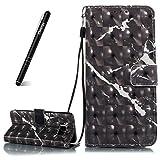 SchutzHülle für Galaxy S8 Schwarz,Slynmax 3D Marmor Glitter Notebook Flip Cover Hülle Wallet Handyhülle für Galaxy S8 Tasche [Tragegurt] Flex Klapphülle Ledertasche Brieftasche Lederhülle Handytasche