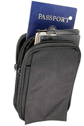 Clakit Outdoor Universal Mehrzweck Tasche Beutel Smartphone mit Klemmhalterung Rucksack Gürtel Schlaufen Tasche Gadget Geld Pocket, schwarz Universal Mobile Pouch