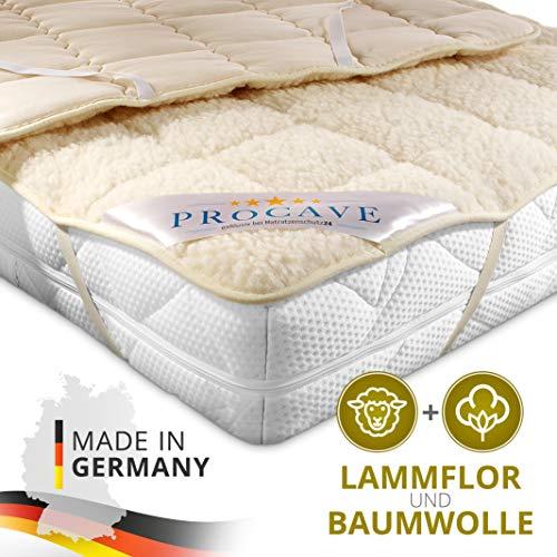 PROCAVE weiches Unterbett mit Lammflor und Schurwolle, hochwertige Matratzen-Topper, Matratzen-Schoner mit 4 Eckgummis, Matratzen-Auflage 160x200 cm