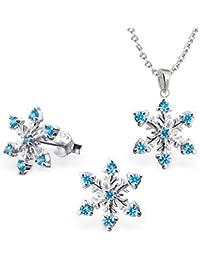 G de H de copo de nieve colgante + 40cm Cadena + Pendientes 925plata auténtica niña niños Set Frozen regalo Idea