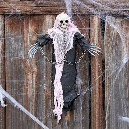 Amcool Neu Halloween Deko, Gruselig hängender Grim Reaper mit Schädel und Kettenfesseln für die Horror Dekoration zu Halloween