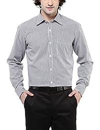 American Crew Men's Cotton Stripes Shirt With Pocket (White & Black)