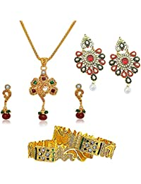 Surat Diamonds Floral Design Red & Green Stone & Gold Plated Set, Chandbali Earrings And Bangles Fashion Jewellery...