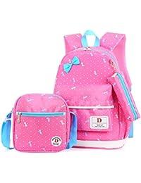 FRISTONE Conjunto de 3 Polka Dot Niños Bolsas de Libros Escuela/bolsas escolares/mochila niños niñas adolescentes + bolso crossbody+bolsa lápiz (Del rosa)