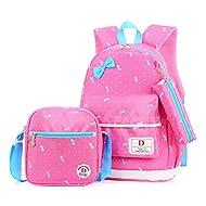 École Sac à dos/3pcs Enfants sac à sac à dos scolaire pour les filles+ Sac d'Épaule+Crayon sacs (Rose)