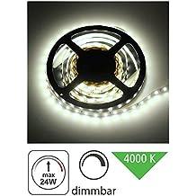 (3,98& # x20ac;/M) 5m LED Stripe 12V Regulable–24W 1200lm–SMD 300x 352860SMD/M–IP20autoadhesivos–8mm–tagesweiß (4000K)