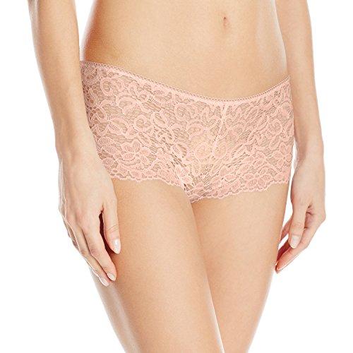 DKNY Women's Classic Lace Boyshort, Blush, Small -