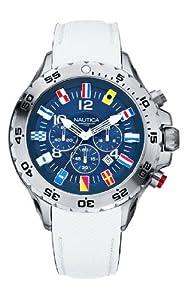 Nautica A24514G - Reloj cronógrafo de cuarzo para hombre, correa de cuero color blanco de Nautica