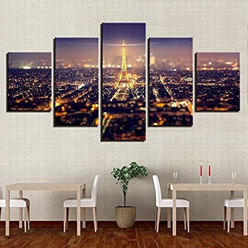 Kuletieas 5 stück Leinwand HD Drucke Wandkunst Schöne Paris Eiffelturm Stadt Nachtszene Gemälde Poster Wohnkultur/Rahmen-200x100cm
