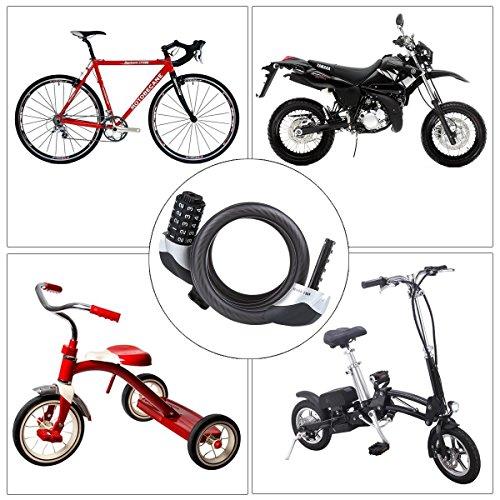 Fahrradschloss, Blusmart Fahrrad Sicherheitsschloss mit 5 stelligem intelligentem Code und Fahrradhalterung, 1,8 m lang - 6