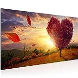 Bilder Herbst Baum Herz Wandbild 100 x 40 cm Vlies - Leinwand Bild XXL Format Wandbilder Wohnzimmer Wohnung Deko Kunstdrucke Rot 1 Teilig -100% MADE IN GERMANY - Fertig zum Aufhängen 605812a