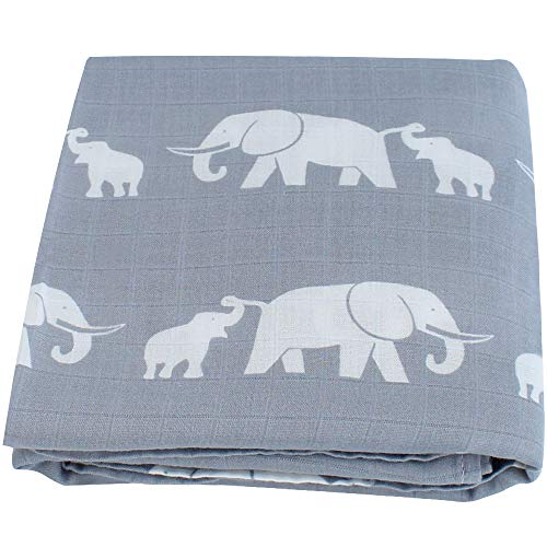 LifeTree Weichen Musselin Pucktücher, 120 x 120 cm Bambus/Baumwolle Swaddle Blanket, Mullwindeln für Junge und Mädchen (Elefant) -