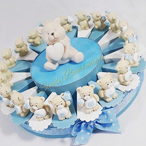 Bomboniere orsetti per battesimo, nascita confezionati su torta bomboniera completa di confetti azzurri (torta da 20 fette 1 paino)