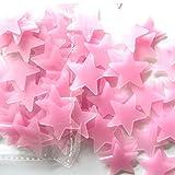 Erthome 100pc enfants Chambre à coucher fluorescent Glow in the Dark étoiles Stickers muraux 3x 3cm, rose