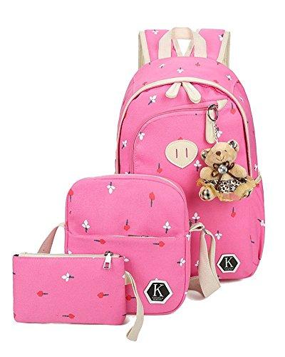 YiLianDa 3Pcs Stampa Borsa Canvas Backpack Viaggio Zaino di Tela per Unisex bambino Rosa