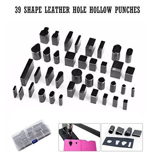 Leder-Ausstecher-Set, Leder, 39Formen nicwhite Handwerk DIY mit Hohl-Stahl Fräser-Werkzeug für handgefertigte, Polymer Clay DIY Werkzeug, mit Kunststoff-Koffer
