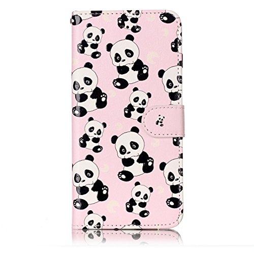 Custodia iPhone 7 Plus , Slynmax Custodia Portafoglio [Slot Per Schede] [Chiusura Magnetica] [Funzione Stand] [Cuoio PU] Custodie Protettive Ultra Sottili Custodie Protettive Magnetic Closure Carte di Panda
