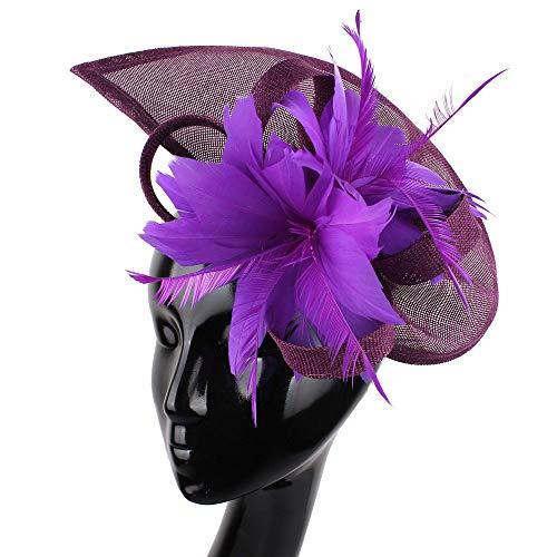 üte, Fascinators Feather Flower Haarspangen Cocktail Headwear, Tea Party Hat für Church Ball Hochzeit,Purple ()