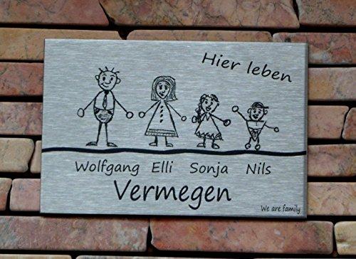 Familienschild /Namensschild / Türschild in Edelstahl gebürstet, 120x80 mm, selbstklebend oder mit zwei seitlichen Bohrungen zur Schraubmontage lieferbar