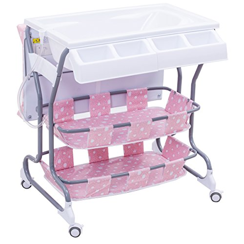Multigot Baby Changing Table, 2 in 1 Infant Bath Tub Unit, Station Storage Dresser with Lockable Wheels(Pink)