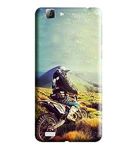 Hi-Me Designer Phone Back Case Cover Vivo V1 Max ( Nature Hilly Green Solo Rider )