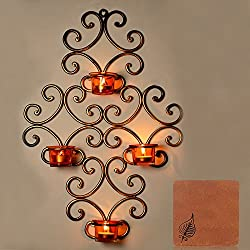 ExclusiveLane Wall Scone With 4 Tea Lights Holders with Metal Finish (Non Electrical) With Free Coaster - For Gift / Home Décor