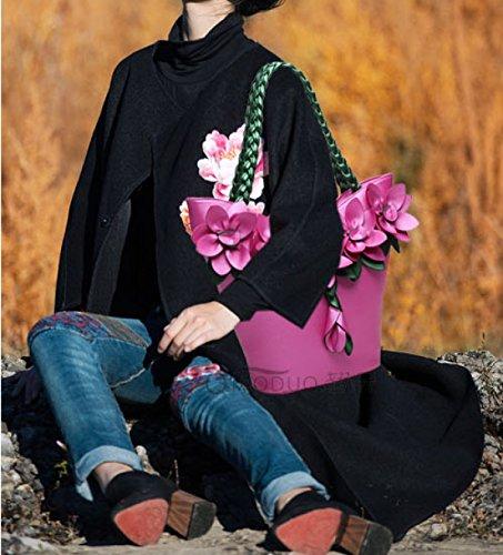 QPALZM QPALZM Weibliche Tasche 2017 Schulterbeutel Art Und Weisetendenz Gewebte Blumen Großes Paket Kleine Frische Handtasche Prägte Handgriff Reißverschluss Schließen Pink
