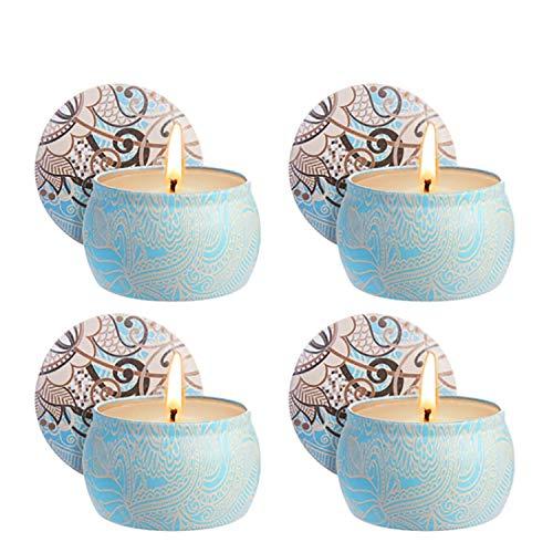 Zeonetak Citronella Kerzen Duftkerzen, 4 Stück Mückenschutz Kerze Weiß 4,8 Oz Zitronengras, 100% natürliche Sojawachs Gegen Mücke Insekten für Geburtstagsbad Yoga Valentinstag - Garten Terrasse Schatz