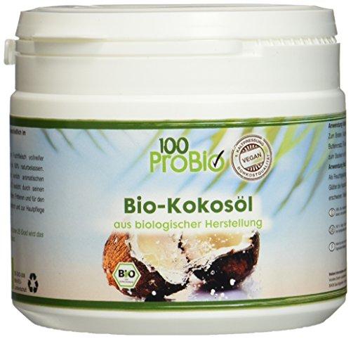 100ProBio Kokosöl nativ 500ml PE-Becher -Ideal für Haut & Haare- 100% reines Kokosöl ein natürliches  Öl ohne Zusatzstoffe (Natürliche Pflege Haar)