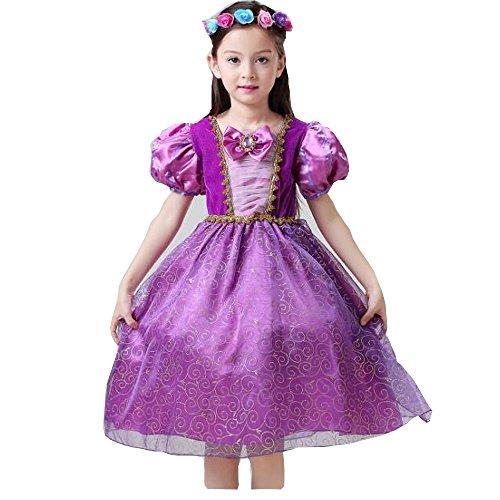 'Kostüm für Mädchen Prinzessin Rapunzel-Kleid Tüll, Violett, für Cosplay, Halloween-Kostüm
