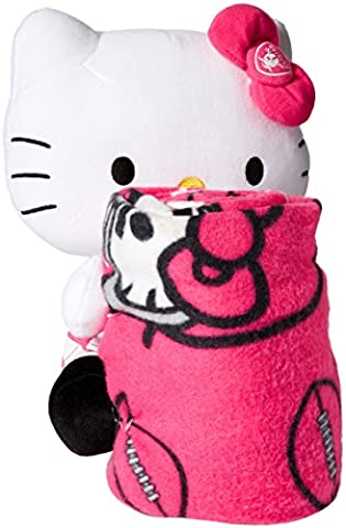 NFL Oakland Raiders Hello Kitty Fleece Throw with Hugger, 40 x 50-Inch, Pink by Northwest