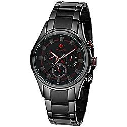 Herren Luxus 24Stunden Datum Woche Uhren Männlich Kleid Sport Edelstahl Army Military Armbanduhr Rot
