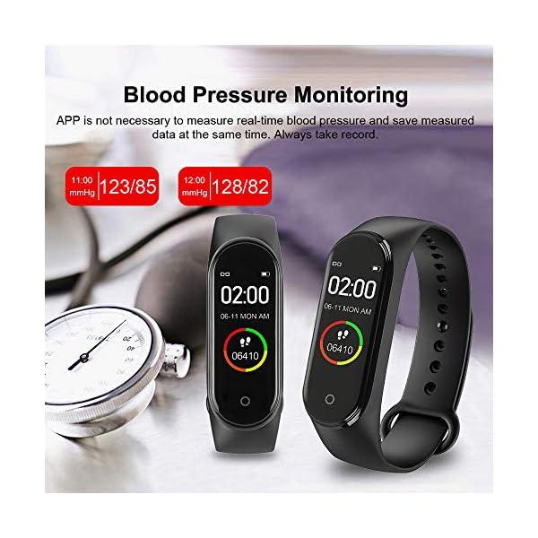 BATHRINS Pulsera Inteligente, [actualización] M4 Fitness Tracker, Impermeable Bluetooth Actividad Tracker Monitor de Ritmo cardíaco Monitor de sueño Podómetro Paso Reloj para Hombres y Mujeres 4