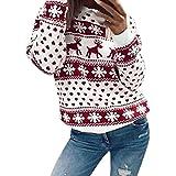 FORH Damen Weihnachten Blumen Drucken langarm Sweatshirt Bluse cute weihnachtspullover rentier Fashion Strickpullover Pulli warme elegante T-shirt für festliche anlässe