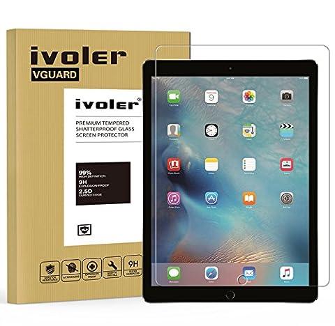 iPad Pro 12.9 pouces Protection écran, iVoler® Film Protection d'écran en Verre Trempé Glass Screen Protector Vitre Tempered pour Apple iPad Pro 12.9''- Dureté 9H, Ultra-mince 0.30 mm, 2.5D Bords Arrondis- Anti-rayure, Anti-traces de doigts,Haute-réponse, Haute transparence- Garantie de Remplacement de 18 Mois