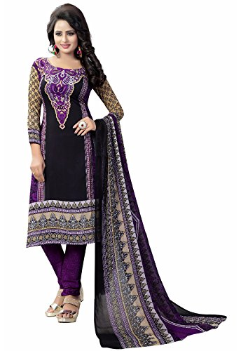 Ishin Synthetic Black & Violet Party Wear Wedding Wear Casual Daily wear Festive Wear Bollwood New Collection Printed Latest Design Trendy Unstitched Salwar Suit Dress Material (Anarkali/Patiyala) Wit